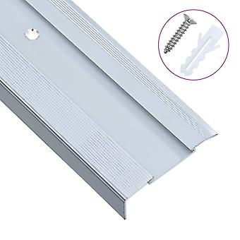 Stair edges in L-shape 15 pcs. aluminium 100 cm silver