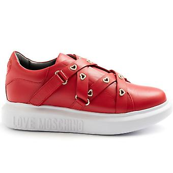 Love Moschino Rosse Sneaker With Price Lists and Hearts