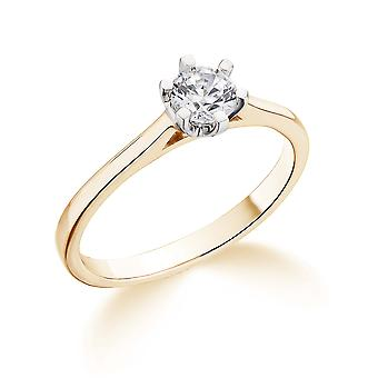 9K Yellow Gold 6 Claw Cathedral Setting  0.35Ct Certified Solitaire Diamond Engagement Ring