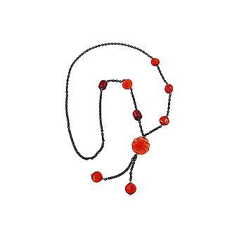 Collana Spirale Rossa Catena Nera 95cm