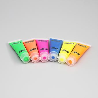 Fluorescent Uv Neon Paint For Face And Body 6 X 10ml Tubes - Glow Party Clubbing Festival Rave
