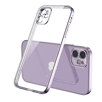 Vierkante plating zachte, transparante case back cover voor iPhone