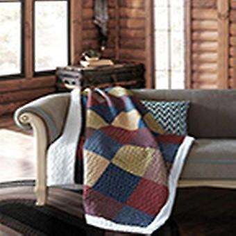 Spura Home Patriotic Charm Patchwork Quilted Sherpa Throw