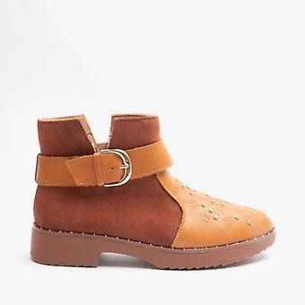 FitFlop Athena Flower Stud Ladies Leather Ankle Boots Light Tan