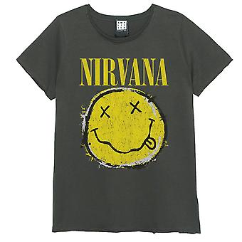 Amplified Nirvana Worn Out Smiley Fitted T-Shirt