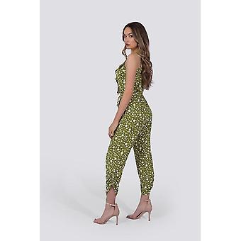 Chloe Jumpsuit | Green Polka Dot
