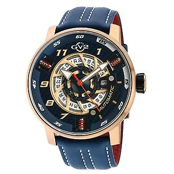 GV2 Motorcycle Mens Blue Dial Blue Calfskin Leather Watch