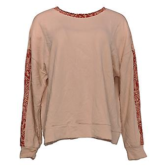 AnyBody Cozy Women's Sweatshirt Knit Français Terry Animal Print Pink A381288