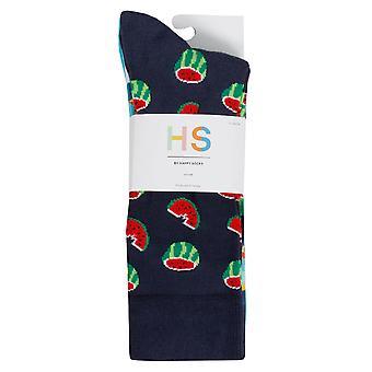 Happy Socks Mens 2021 Vattenfall Vattenmelon Nyhet Bomull Komfort 3-Pack Strumpor