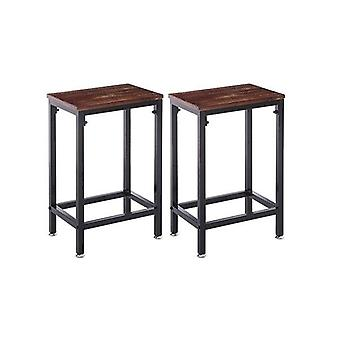 2 Pcs Kitchen Wooden Black Dining Metal Industrial Barstools