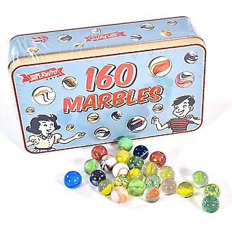 Kandytoys 160 traditionelle assorterede farverige klassiske retro glas kugler i en tin børn spil 160 stykke