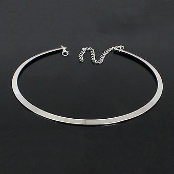 Colletto in metallo liscio rotondo geometrico - Collana girocollo punk