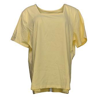 Denim & Co. Frauen's Top Essentials Kurzarm Quadrat Hals gelb A200149