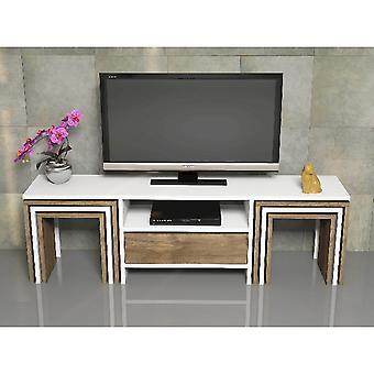 Mobiele TV poort Zygo Witte kleur, Melamine trucilar walnoot, PVC, L140xP30xA41.8 cm, L40xP28xA39 cm, L34.4xP25.2xA36.2 cm, L28.8xP22.4xA33.4 cm
