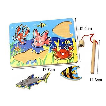 Magnetic 5pcs Fish & Fishing Rods Set Fish Play Game With Friend (white)