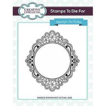 Creative Expressions Floral Pinstripe Pre Cut Stamp