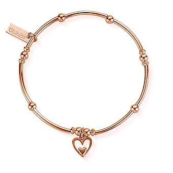 ChloBo Rose Gold Mini Noodle Ball Heart In Heart Bracelet RBMNB733