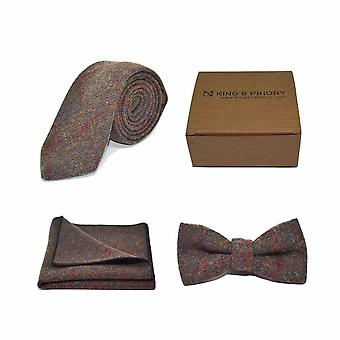 Verificação patrimonial Earth Brown Bow Tie, Tie & Pocket Square Set | Caixa