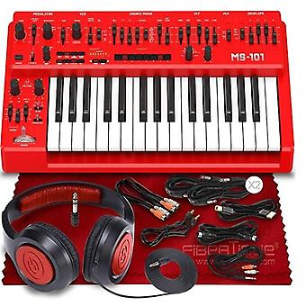 Behringer ms-101 analog synthesizer (red) w/ 32 full-size keys, 3340 vco, vcf, adsr, 32-step sequencer, arpeggiator and live performanc ps54535