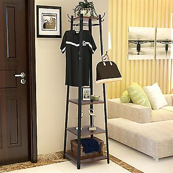 Vintage Coat Rack Industrial Coat Stand Hall Tree With 3 Shelves Ladder Tower