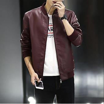 Yinglangjie Brand Spring And Autumn Men's Washed Leather Jacket, Casual Leather
