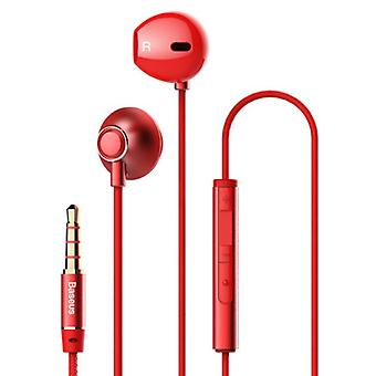 Baseus Encok H06 Earphones with Microphone and Volume Controls - 3.5mm AUX Earphones Wired Earphones Earphone Red