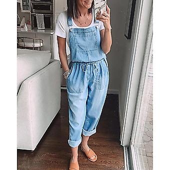 Women's Denim Jumpsuit Loose Fashion Elastic Mid Waist Vintage Solid Color
