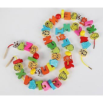 26pcs Wooden Baby Diy Cartoon Fruit Animal Stringing Threading Wooden Beads