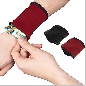 Polar Fleece, Zippered Wrist Pouch For Outdoor Travel/sports/gym