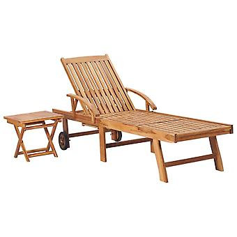 Sun Lounger With Table Solid Teak Wood