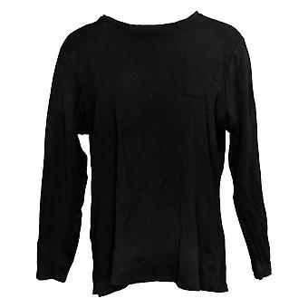 Isaac Mizrahi En direct! Femmes & s Top Long Sleeve Jersey Noir A389173