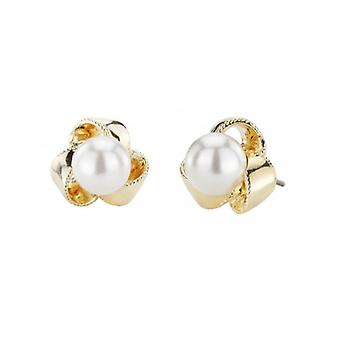 Traveller Pierced Earrings - 8mm White Pearls - 22ct Gold Plated - 114209 - 817