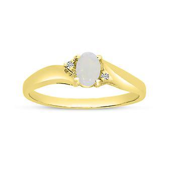 LXR 14k الذهب الأصفر البيضاوي أوبال وخاتم الماس 0.19ct