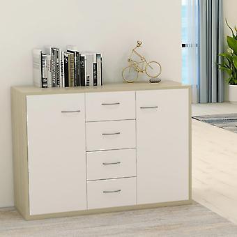 vidaXL Sideboard blanc et sonoma-chêne 88×30×65 cm panneau de particules