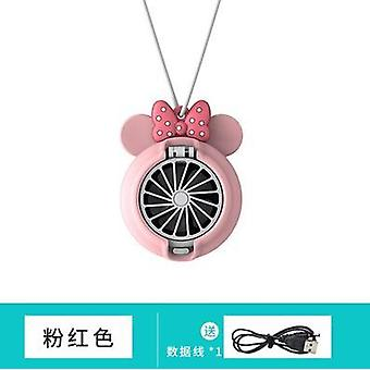 Mini fan hanging neck handheld usb rechargeable cute cartoon student portable sports