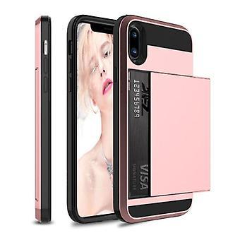 VRSDES iPhone X - Wallet Card Slot Cover Case Case Business Pink