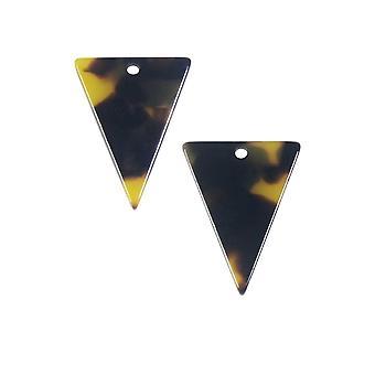 Zola Elements Asetaatti riipus, Kolmio 16x20mm, 2 Kpl, Ruskea Kilpikonnan kuori
