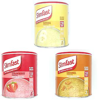 SlimFast KIT Made of High Protein Meal Replacements Shakes (Caramel 292, Summer Strawberry 292g, Banana 292g), 3 Flavours in One Handy Kit