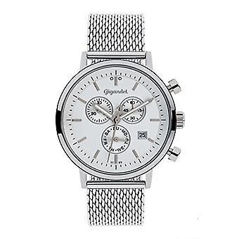 Gigandet CLASSICO - Montre homme/femme, avec chronographe, analogique, quartz, couleur: Argent et Blanc G6-011