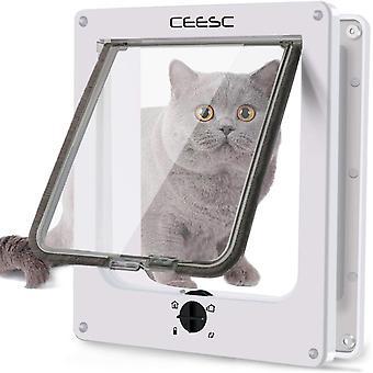 Große Katzenklappe (Außengröße 29,5 cm x 24,5 cm), drehbare 4-Wege-Verriegelungstür für