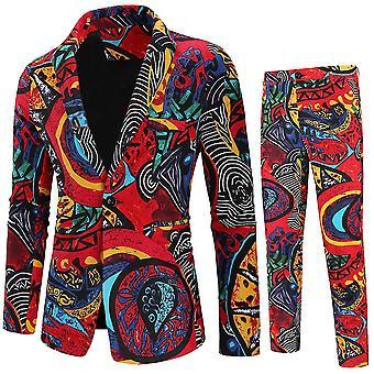 M red mens 2 peça entalhada lapela floral 1 botão slim fit terno de tweed de baile x2367