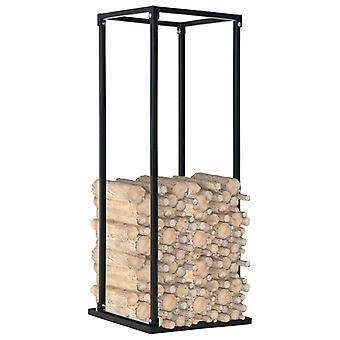 ripiano vidaXL per legna da ardere con fondo nero 37 x 37 x 113 cm di acciaio