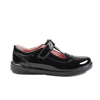 Ricosta Liza 8625900-093 Black Patent Leather Girls Rip Tape T-Bar School Shoes