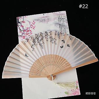Vintage Style Silk Folding Fan Chiński Wzór Art Craft Prezent Dekoracja domowa Ozdoby Dance Hand
