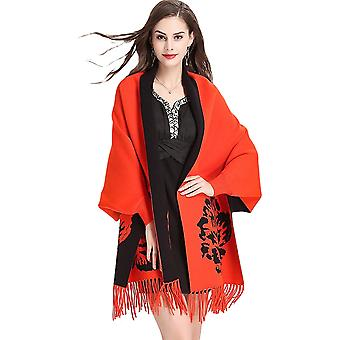 Women Floral Printed Knitted Shawl Cape With Sleeves