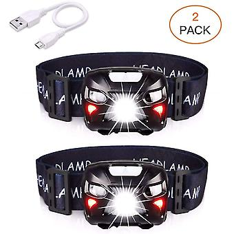 Led Headlamp Rechargeable Usb Torch Front Powerful With 400lm, 8 Lighting Modes, Ipx4 Waterproof, Motion Detector
