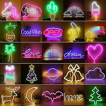 LED Neon Light Wall Art Sign Soveværelse Decor Rainbow Hængende Night Lampe Home Party Holiday Decor Xmas