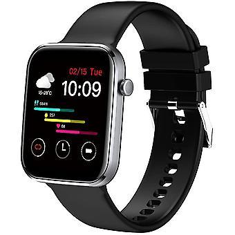 Connected Watch Mannen Vrouwen Smartwatch, Sporthorloge Stappenteller Hartslagmeter, Waterdichte IP67 Smart Watch Activity Trackers voor Android iOS Telefoon (zwart)