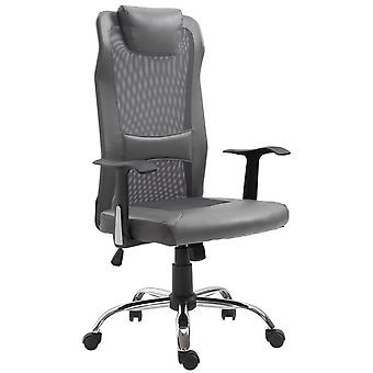 Vinsetto Swivel Mesh Office Chair Task High Back Desk Chairs Height Adjustable Armchair for Home with Headrest, Grey