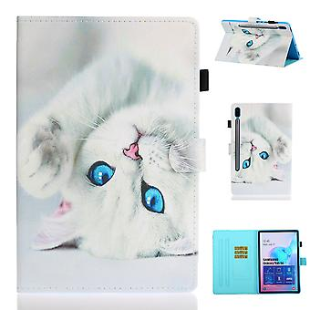 Case For Samsung Galaxy Tab S6 Lite Cover With Auto Sleep/wake Pattern Magnetic - White Cat